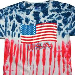 Distressed USA Flag Patriotic Tie Dye Shirt