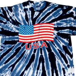 Distressed USA Flag Twist Tie Dye Shirt