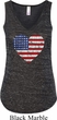 Distressed USA Heart Ladies Flowy V-neck Tank Top