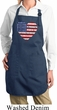 Distressed USA Heart Ladies Full Length Apron with Pockets
