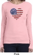 Distressed USA Heart Ladies Long Sleeve Shirt