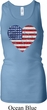 Distressed USA Heart Ladies Longer Length Racerback Tank Top