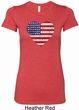 Distressed USA Heart Ladies Longer Length Shirt