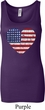 Distressed USA Heart Ladies Longer Length Tank Top