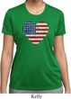 Distressed USA Heart Ladies Moisture Wicking Shirt
