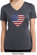 Distressed USA Heart Ladies Moisture Wicking V-neck Shirt