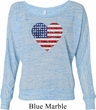 Distressed USA Heart Ladies Off Shoulder Shirt