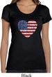 Distressed USA Heart Ladies Scoop Neck Shirt