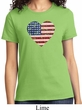 Distressed USA Heart Ladies Shirt