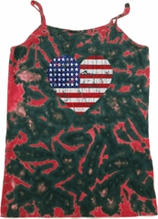 Distressed USA Heart Ladies Tie Dye Camisole Tank Top