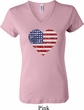 Distressed USA Heart Ladies V-neck Shirt
