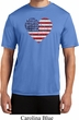 Distressed USA Heart Mens Moisture Wicking Shirt