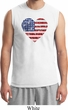 Distressed USA Heart Mens Muscle Shirt