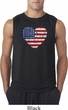 Distressed USA Heart Mens Sleeveless Shirt
