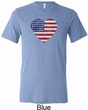 Distressed USA Heart Mens Tri Blend Crewneck Shirt