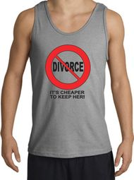 Divorce Tanktops Funny Cheaper To Keep Her Black Print Adult Tank Tops