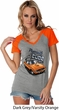 Dodge 1970 Plymouth Hemi Cuda Ladies Contrast V-Neck Shirt