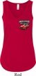 Dodge American Made Muscle Pocket Print Ladies Flowy V-neck Tank Top