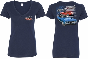 Dodge American Muscle Blue and Red (Front & Back) Ladies V-neck