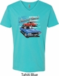 Dodge American Muscle Blue and Red Mens V-Neck Shirt