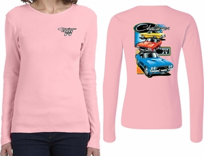 Dodge Challenger Trio (Front & Back) Ladies Long Sleeve