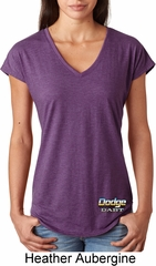 Dodge Dart Bottom Print Ladies Tri Blend V-Neck Shirt