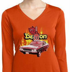 Dodge Demon  Ladies Dry Wicking Long Sleeve Shirt