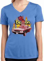 Dodge Demon Ladies Dry Wicking V-neck
