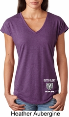 Dodge Guts and Glory Ram Bottom Print Ladies Tri Blend V-Neck Shirt