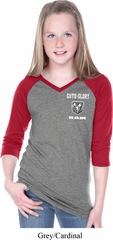 Dodge Guts and Glory Ram Logo Pocket Print Girls Three Quarter V-Neck