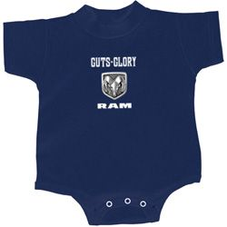 Dodge Guts and Glory Ram Logo Small Print Baby Onesie