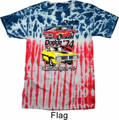 Dodge Shirt Vintage Chargers US Flag Patriotic Tie Dye Tee T-shirt