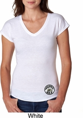 Dodge Super Bee Circle Logo Bottom Print Ladies Tri Blend V-Neck Shirt