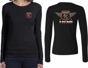 Dodge Tee Garage Hemi (Front & Back) Ladies Long Sleeve