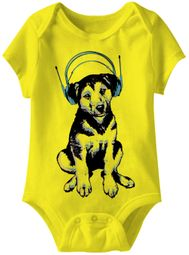 Dog Headphones Funny Baby Romper Yellow Infant Babies Creeper