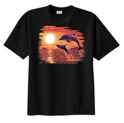 Dolphin T-shirt - Sunset Dolphin Adult Aquatic Tee