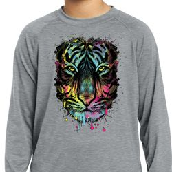 Dripping Neon Tiger Kids Dry Wicking Long Sleeve Shirt