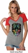 Dripping Neon Tiger Ladies Contrast V-Neck Shirt