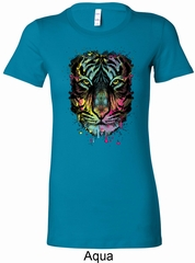 Dripping Neon Tiger Ladies Longer Length Shirt