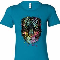 Dripping Neon Tiger Ladies Shirts
