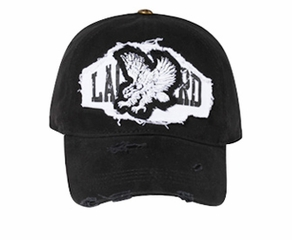 Eagle Hat Embroidered Distressed Lackpard Patch Flexible Cap Black