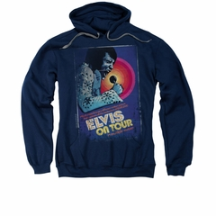 Elvis Presley Hoodie On Tour Poster Navy Sweatshirt Hoody