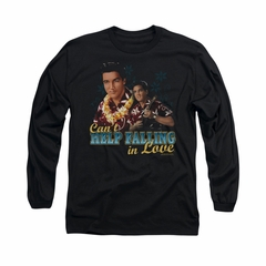 Elvis Presley Shirt Can't Help Falling Long Sleeve Black Tee T-Shirt