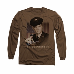 Elvis Presley Shirt GI Uniform Long Sleeve Coffee Tee T-Shirt