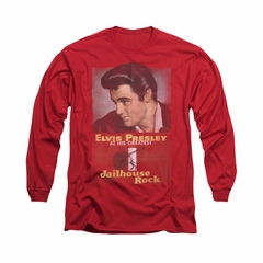 Elvis Presley Shirt Jailhouse Rocker Poster Long Sleeve Red Tee T-Shirt