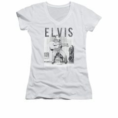 Elvis Presley Shirt Juniors V Neck Iconic Pose White T-Shirt