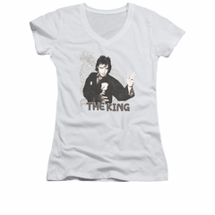 Elvis Presley Shirt Juniors V Neck Karate Dragon White T-Shirt