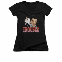 Elvis Presley Shirt Juniors V Neck Trouble In A White Suit Black T-Shirt