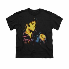 Elvis Presley Shirt Kids Neon Outline Black T-Shirt