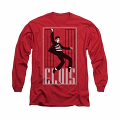 Elvis Presley Shirt One Jailhouse Long Sleeve Red Tee T-Shirt